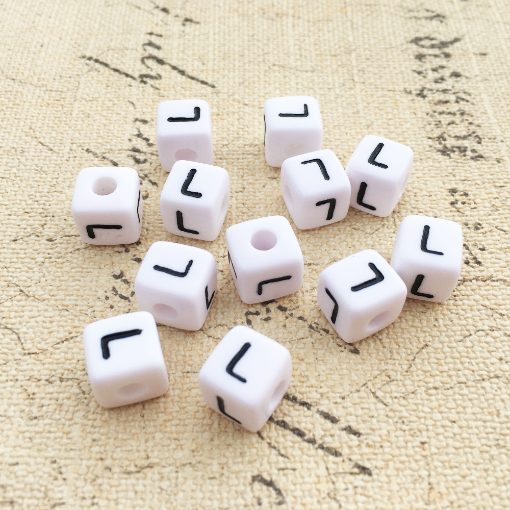 Free Shipping Cube Acrylic Letter Beads 500pcs 2600pcs Single Initial C Printing Gold Square Alphabet Jewelry Spacer Beads Beads