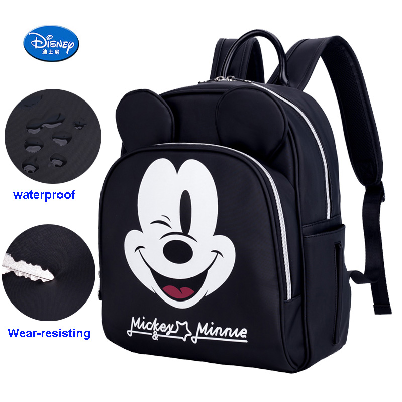 Diaper Bag Backpack Mummy Travel Nursing Bag Mini Mouse Mickey Mouse Design Waterproof Black Color Large Capacity Baby Nappy BagDiaper Bag Backpack Mummy Travel Nursing Bag Mini Mouse Mickey Mouse Design Waterproof Black Color Large Capacity Baby Nappy Bag