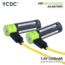 2pieces 1.5 V AA 1250mAh Li-polymer Li-po USB Rechargeable 2A Lithium Li-ion Battery + Cable US/EU/UK Wall Car Charger