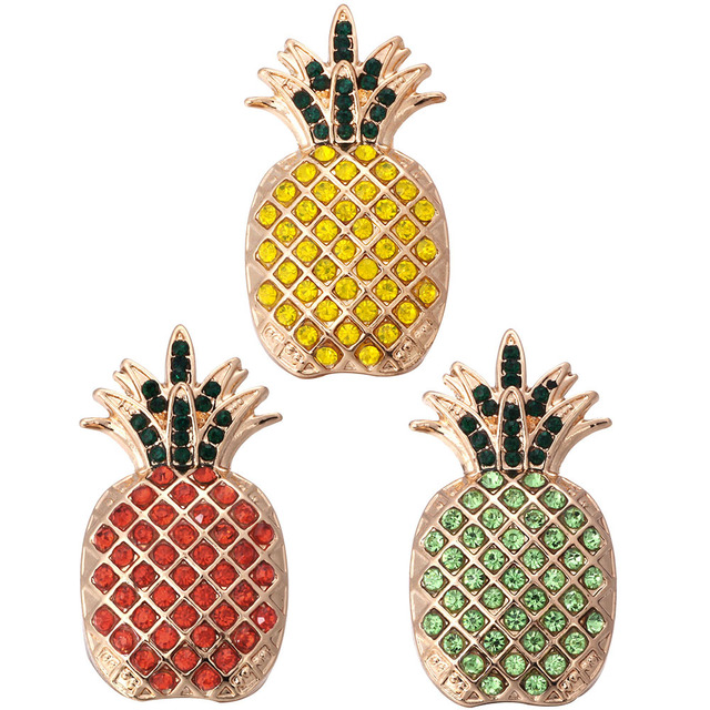 5pcs/lot Hot Sale New Crystal 18mm Snap Buttons Big Gold Pineapple Snap Jewelry For Silver Snap Bracelet Snap Buttons Jewelry
