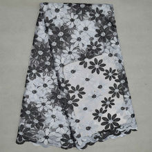 High Quality African Fabric French Net Lace Fabric With Rhinestones White/Black African Tulle Lace For Wedding Decoration