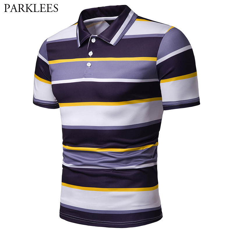 Fashion Hit Color Striped   Polo   Shirt Men Summer Slim Fit Short Sleeve   Polo   Shirts Male Breathable Cotton Casual   Polo   Hombre XXL