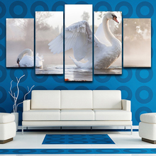 HD Printed Modern Wall Art Painting On Canvas 5 Piece Swan Modular Picture