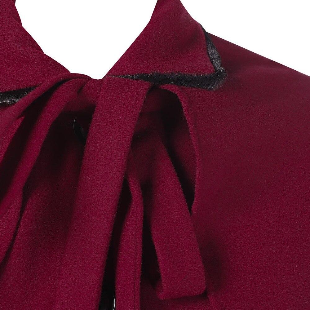 Vintage La Cape Bureau Manteau Pardessus Taille Longue Swing Chaud De Femmes Up D'hiver Bourgogne Élégante Dame Dentelle Laine Plus Fourrure Survêtement Fausse rnUWqwr1