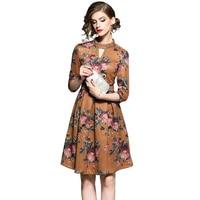 Brand Fashion Women Designer Runway Dress 2017 New Lady Autumn Winter Elegant Retro Floral Print Rivets