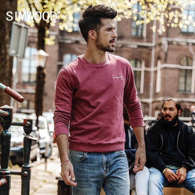 SIMWOOD 2018 Autumn New Hoodies Men Slim Fit Vintage Letter Sweatshirts Tracksuit Streetwear Fashion Brand Clothing WT017023