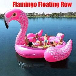 6-8person énorme flamant rose piscine flotteur géant gonflable licorne piscine île pour piscine partie bateau flottant