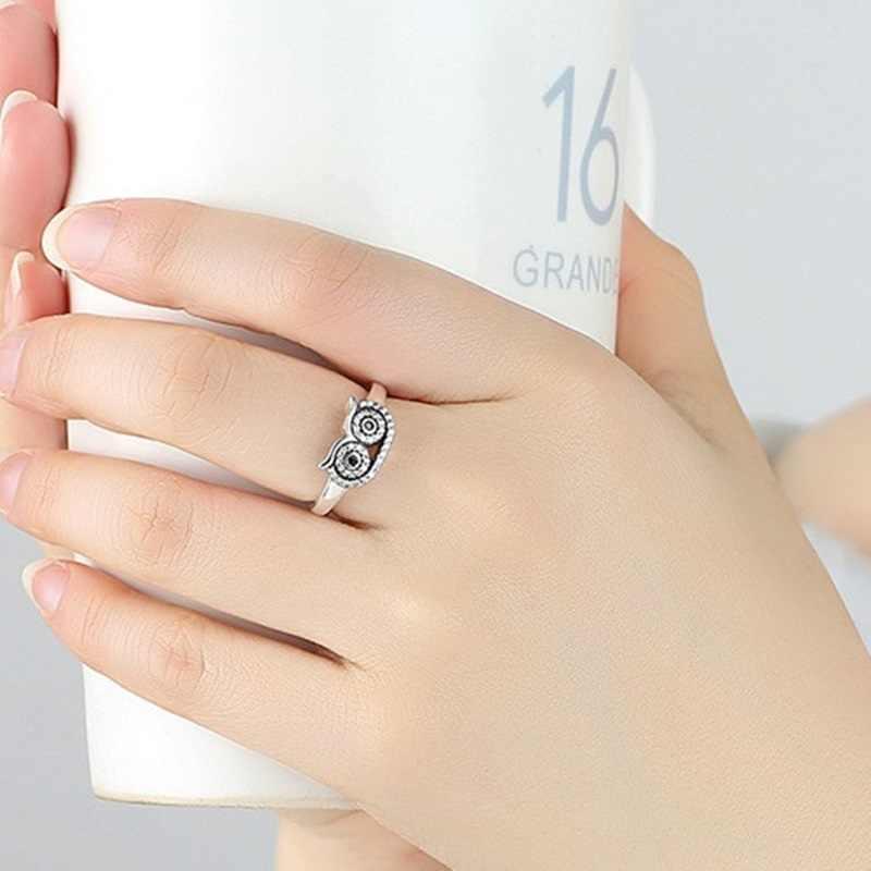OMHXZJ hurtownie europejskiej moda kobieta mężczyzna Party ślub prezent srebrny czarny biały sowa AAA cyrkon Taiyin pierścień RR316