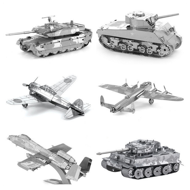 3D Metal Puzzle DIY Ships&Tank Fighter Helicopter Model Puzzle Educational Toys Adult Ji ...