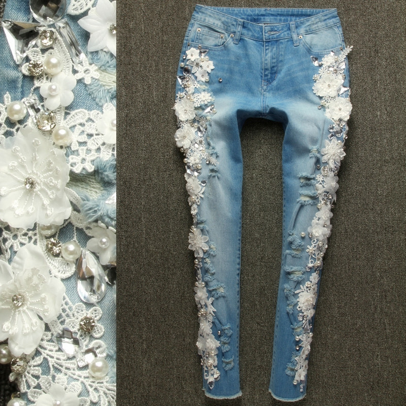 Strass diamant Streetwear Jeans 2017 nouvelle mode femme Slim perles dentelle fleurs Denim Skinny crayon pantalon