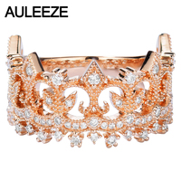 AULEEZE Solid 18K Rose Gold Real Diamond Rings Women Luxury Vintage Design Crown 0.45cttw Diamond Ring Diamond Jewelry