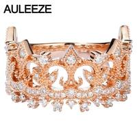 AULEEZE Solid 18K Rose Gold Real Diamond Rings Women Luxury Vintage Design Crown 0.45cttw Diamond Ring Diamond Jewelry