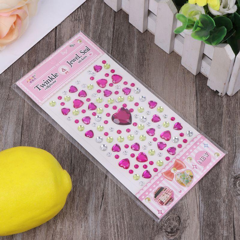 HBB 1 шт. сердце Форма стикер в виде бриллианта, кристалла DIY Наклейка Мобильный Art самоклеющиеся Скрапбукинг Стикеры «s», детская игрушка