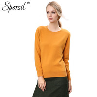 Sparsil Women Pure Cashmere Sweater Deer Suede Collar Long Sleeves Pullovers Hot Sale Autumn Winter Solid