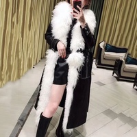 Fashion lambskin down coat long warm jacket genuine fluffy sheep shearing fur trimming trench coat Leather Jacket with Fur
