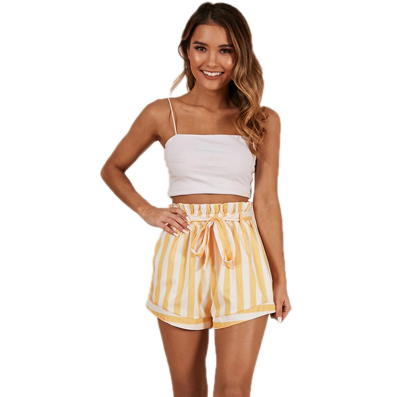 Streetwear Yellow Elastic Women Shorts Striped Pattern Ruffles Pantalones Cortos Mujer Casual Short Feminino 82059