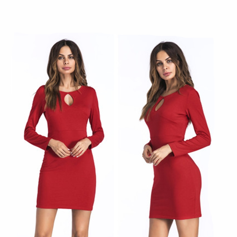 2018 Spring Autumn Elegant Long Sleeve Party Dress Plus