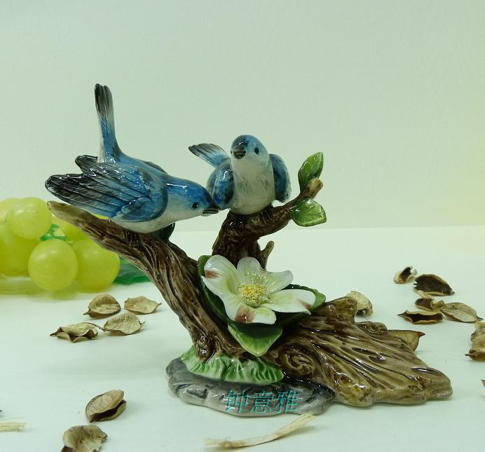 Blue ceramic flower bird trees figurines home decor for Bird home decor