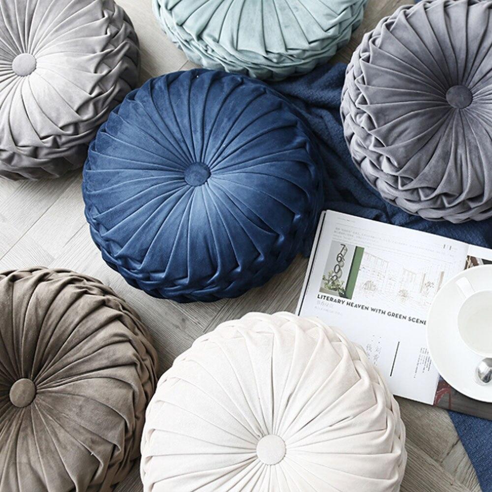 Fashion Super European Luxury Velvet Throw Pillow Cushion Round Fabric Handmade Pleated Wheel Pumpkin Seat Cushion