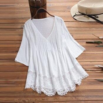 White Blouse Vintage Jacquard Three Quarter Lace V-Neck Plus Size Women Tops and Blouses Solid Shirt Blouse Lady Camisa#5% 1