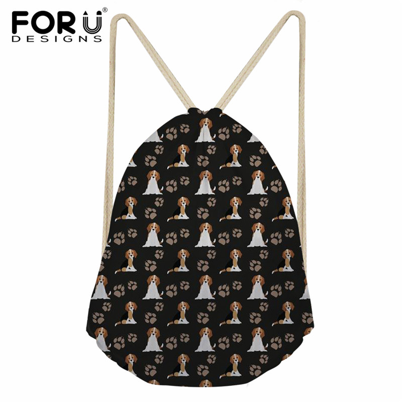 FORUDESIGNS Casual Drawstring Bags Women Men Cute Beagle Dog Pattern Daily Shoes Storage Bags String Backpack Cinch Sack Female