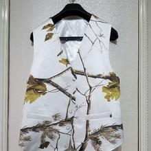 Белые камуфляжные формальные мужские жилеты с натуральным деревом, камуфляжный жилет для жениха, атласный строгий свадебный жилет, камуфляж