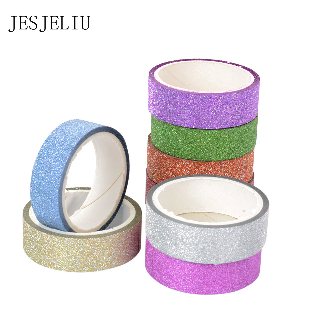 1pcs 5m Kawaii Glitter Matte Tape 8 Colors Book Decor Washi Tape Scrapbooking Card Adhesive Paper Sticker DIY Craft Gift