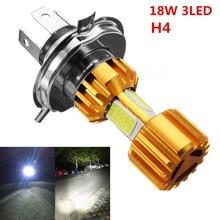 Lâmpada de farol cob 18w h4, led para motocicleta, luz branca, 2000lm, 6000k, feixe alto/baixo lâmpada de farol