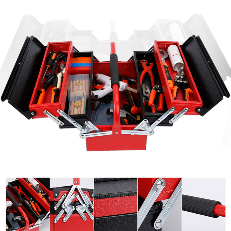 Three floors iron tool box portable folding Hardware toolbox Household Maintenance Electrician Anti-fall Tool case