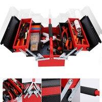 Três andares caixa de ferramentas de ferro dobrável portátil maleta de Ferramentas de Hardware Casa caixa de ferramentas de Eletricista de Manutenção Anti queda|Estojos ferramenta| |  -
