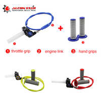 Alconstar-Brake Throttle Grip Quick Twister+Brake Cable+Handle Grips for Kawasaki KTM Motorcycle 125 250CC Dirt Bike ATV CRF KX