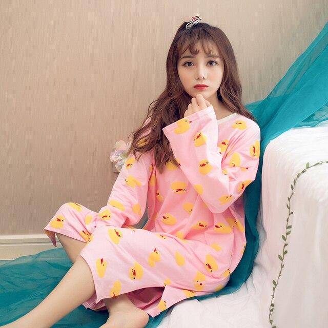 1b7ef57ed5 Cute Nightgowns 2018 Spring Lady Long Sleep Skirt Women Long Sleeves  Nightdress Young Girl Home Sleepwear Clothes Girl Nightgown