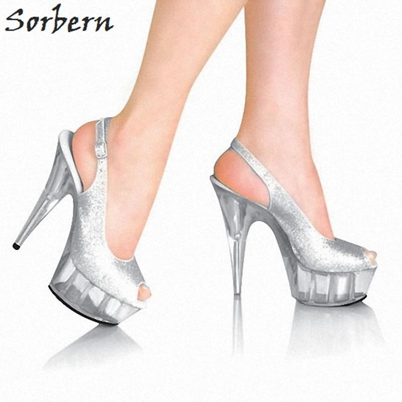 9d795865e68 Sorbern Silver Glitter Women Pumps Peep Toe Slingbacks 15Cm Clear High  Heels Platform Shoes Ladies Summer ...
