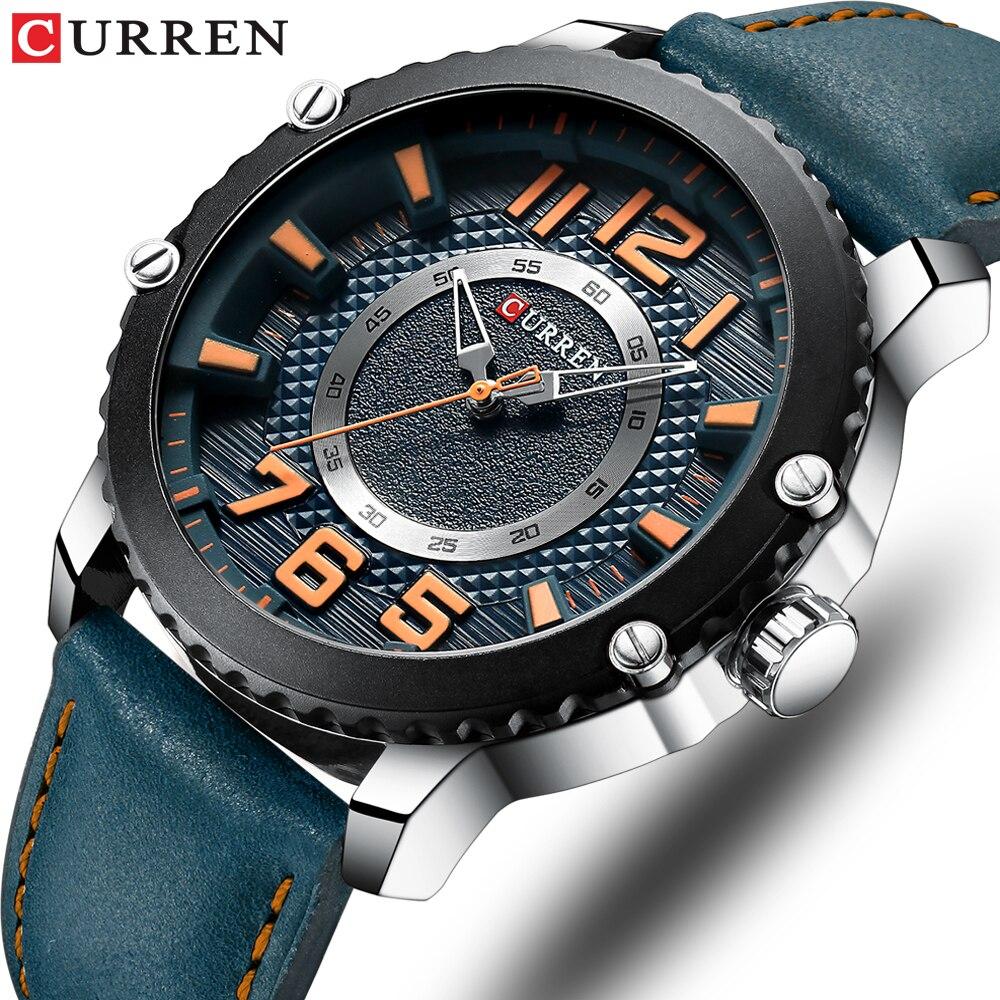 CURREN Casual Leather Watch For Men Style Business Quartz Wristwatches New Relojes Hombre Unique Design Clock Male Watches