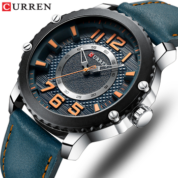 CURREN Casual Leather Watch for Men Style Business Quartz Wristwatches New Relojes Hombre Unique Design Clock Male Watches - discount item  90% OFF Men's Watches