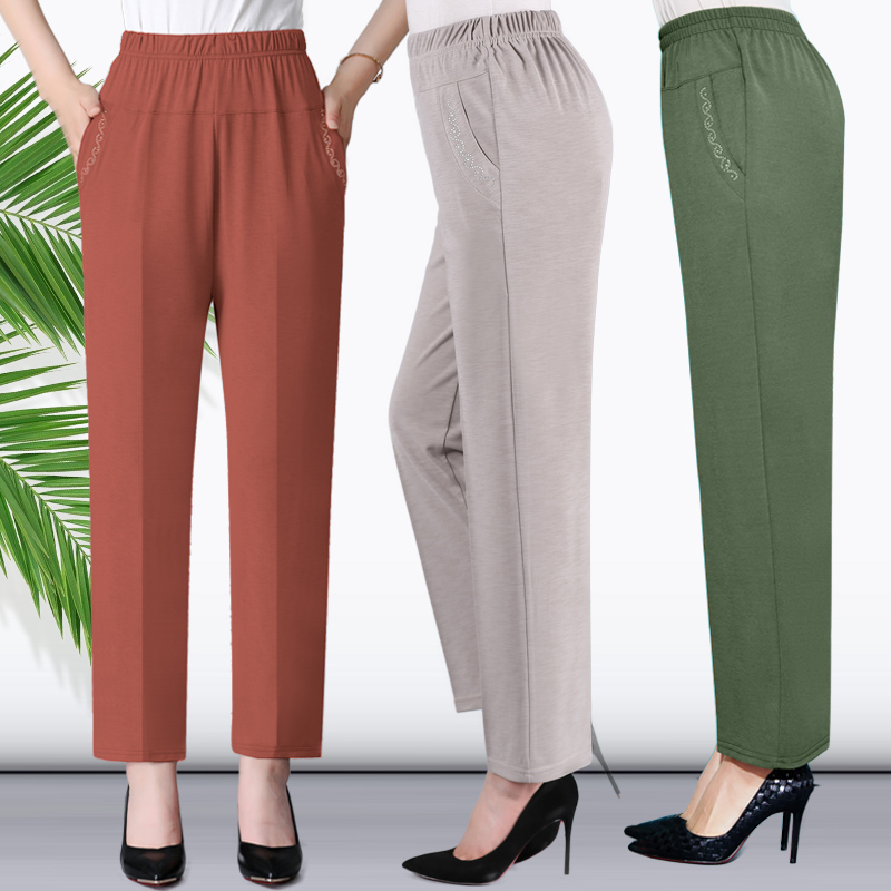 Middle Aged And Old Women Spring Summer Pant Thin Elastic Waist Loose Cotton Mother Long Casual Trousers Plus Size XL-5XL W871