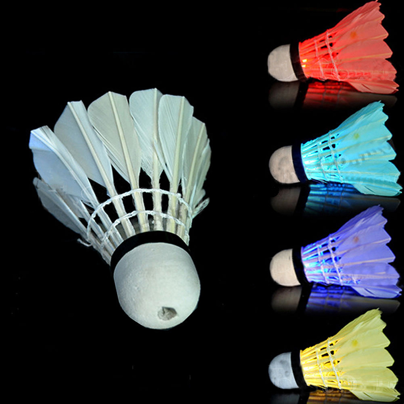 4 pcs colorful led badminton shuttlecock birdies lighting dark night outdoor sports. Black Bedroom Furniture Sets. Home Design Ideas