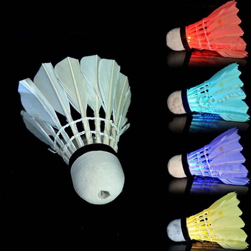 4 Pcs Colorful LED Badminton Shuttlecock Birdies Lighting Dark Night Outdoor Sports font b Entertainment b