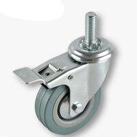 3 Diameter Rubber Wheel Threaded Swivel Caster W Brake