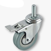 3 Diameter Rubber Wheel Threaded Swivel Caster W Brake