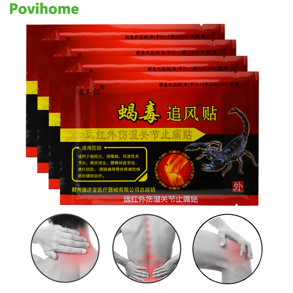 Health Care Energetic 96pcs/12bags Knee Joint Pain Relieving Patch Chinese Scorpion Venom Extract Plaster Body Rheumatoid Arthritis Pain Relief C496 Patches