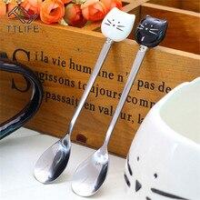 TTLIFE нержавеющая сталь ложки с черные и белые керамические кошки ручка ложка для перемешивания льда для крема, сахара чай десертный суповой кофе ложка