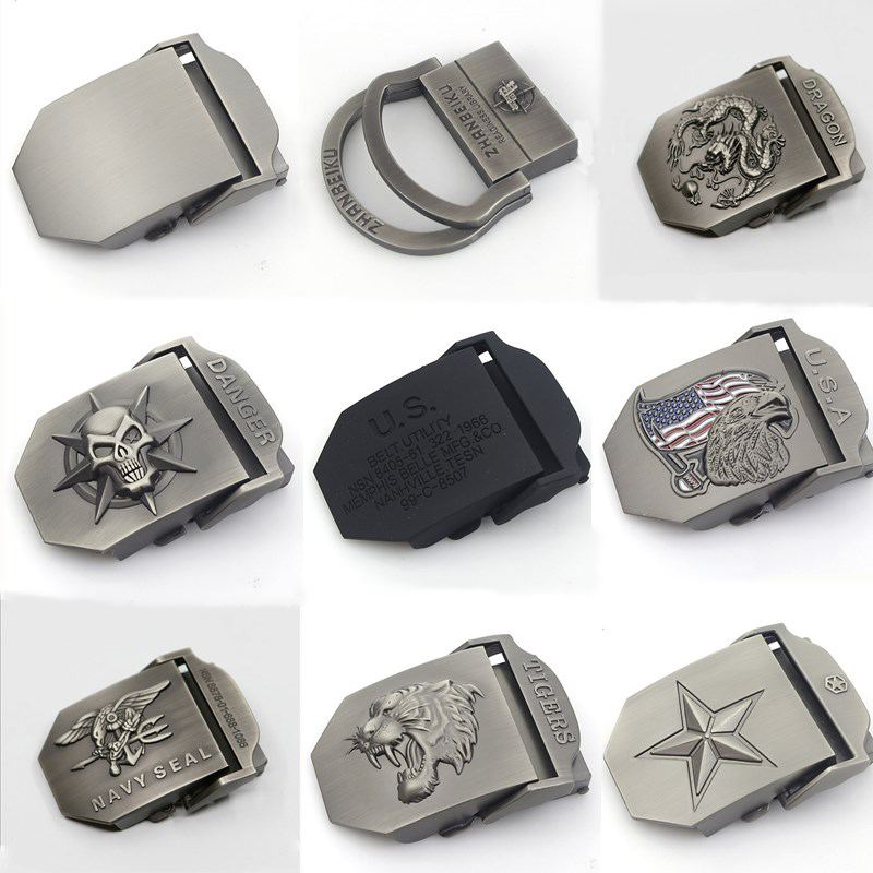 BOKADIAO Canvas Belt Only Buckle Alloy Metal Buckle 4.5 X 6.8cm Luxury Military Army Tactical Belt Buckle With Width 3.8cm Belts