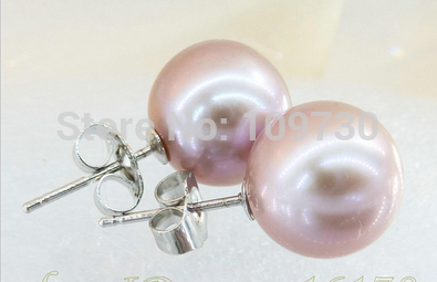 Ry00334 Magnifique AAA + + 9.5mm Lavande Ronde Parfaite Perle Stud 925 Argent