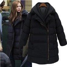 Бесплатная доставка 2016 пряжи мода вниз пальто лоскутная Женщины средней длины тонкий толстый верхняя одежда свободно плюс размер
