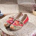 Большой Размер 34-40 Женщина Плоские Туфли Блестками Павлин Вышивка Обувь Китайский Старый Пекин Случайные Ткань Танцы Пион Круглый глава