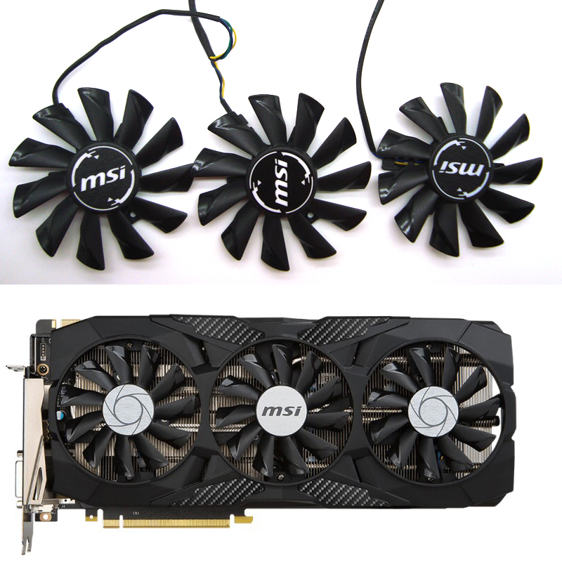 Free Shipping 87mm PLD09210S12HH 0.4A Fan For MSI GeForce GTX 1070 1060 1080 1080Ti 980Ti Duke Video Graphics Card Cooler Fans
