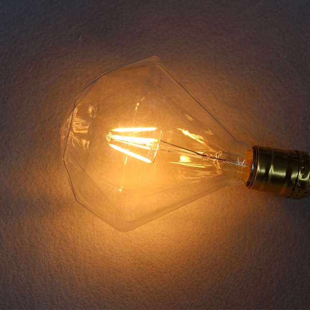 4w E27 220v Vintage Edison LED Bulb Glass Diamond  Filament bubble Warm White Cafe Bar Coffee Shop