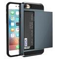 Броня Slide Case For iPhone 7 7 Plus Скрытые Держателя Карты Крышка телефона Для iPhone 6 6 s Plus Case Коке ПК ТПУ Гибридный крышка