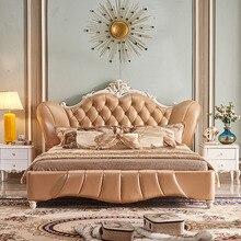 Европа и Америка из натуральной кожи кровати мягкой кровати домашнего Спальня мебель Кама muebles де dormitorio/камас кварто 1,8*2 м